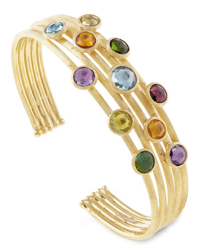Jaipur Mixed Stone Five-Row Bangle Bracelet