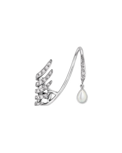 Vesta Single White Diamond & Mother-of-Pearl Cuff Earring for Left Ear
