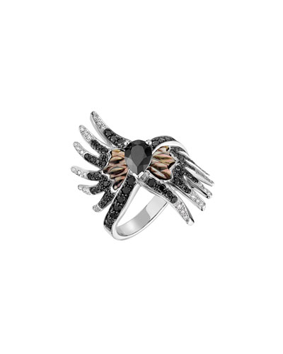 Vesta Black Spinel Ring with Black & White Diamonds, Size 6