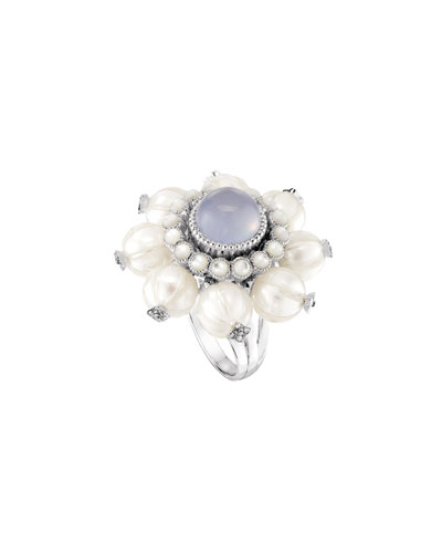 Muguet Pearl & Chalcedony Ring with Diamonds, Size 6