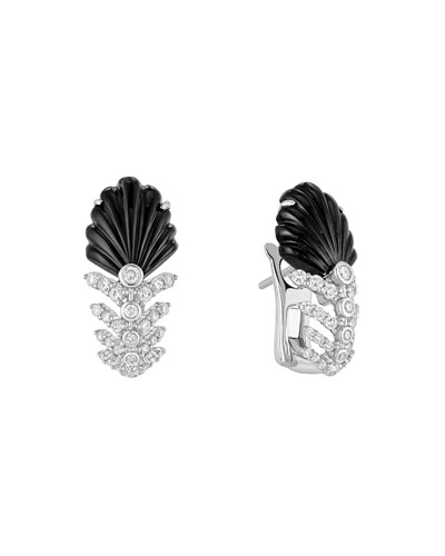 18K White Gold Lys Diamond & Onyx Earrings