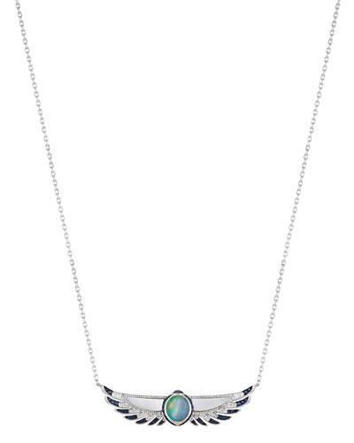 18K Scarab Diamond & Sapphire Pendant Necklace