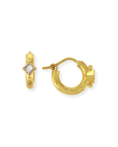 19K Baby Hammered Hoop Earrings with Princess-Cut Diamonds