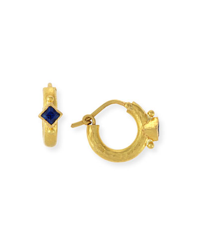 19K Baby Hammered Hoop Earrings with Blue Sapphires