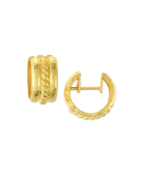 Elizabeth Locke Braided 19K Gold Hoop Earrings