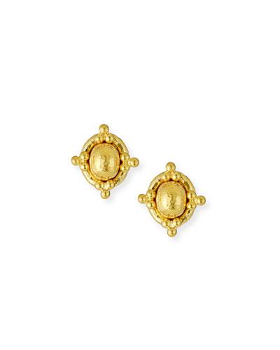 19K Beaded Dome Stud Earrings
