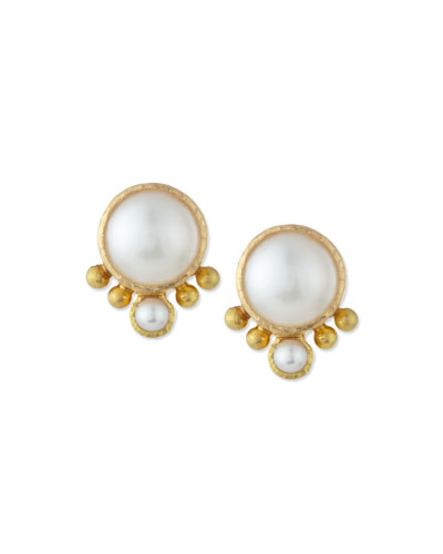 Elizabeth Locke 8mm White Akoya Pearl Earring Pendants