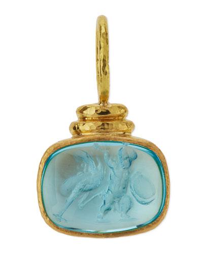 19K Gold Cab Ostrich & Putto Venetian Glass Intaglio Pendant