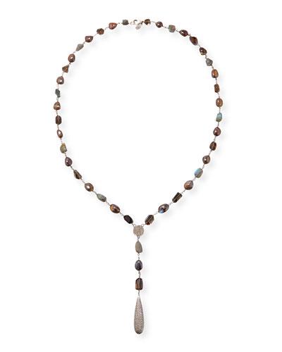 Long Lariat Necklace with Opal, Quartz & Diamonds