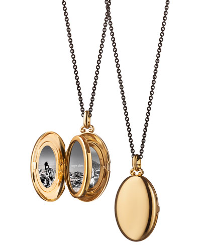 Midi 18k Gold Oval Locket Necklace