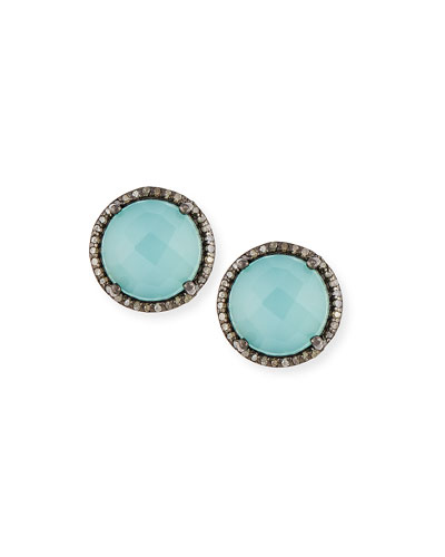 Margo Morrison Faceted Peru Onyx & Diamond Button Earrings