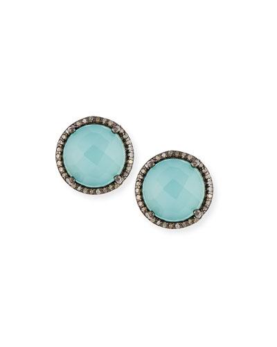 Margo Morrison Faceted Peru Onyx & Diamond Button Earrings