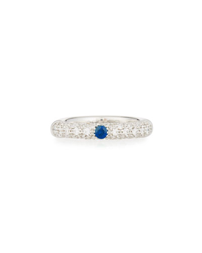 ADOLFO COURRIER PAVÉ WHITE DIAMOND BAND RING WITH BLUE SAPPHIRE IN 18K WHITE GOLD