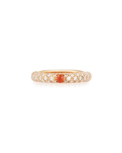 18K Rose Gold & Diamond Ring with One Orange Sapphire, Size 5.5 ...