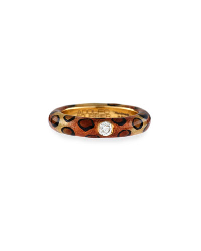 Cheetah-Print Enamel Ring with One Diamond, Size 6.75