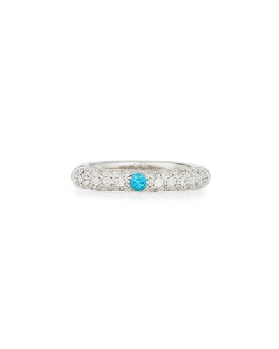 18K White Gold & Pavé Diamond Ring with One Turquoise, Size 6.5 ...