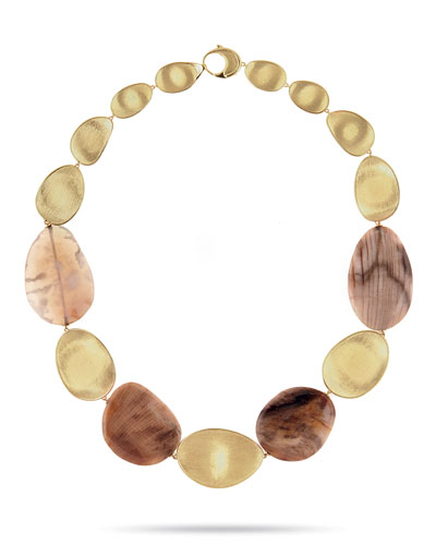 Materica 18K Gold & Wood Opalite Collar Necklace