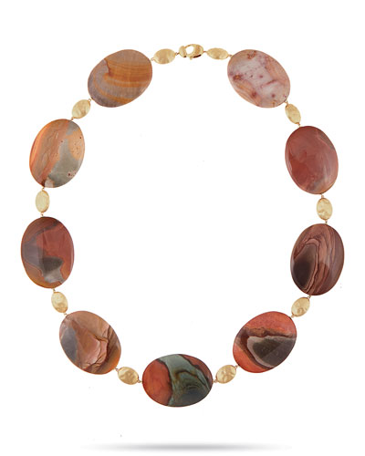 Materica 18K Red Landscape Jasper Necklace