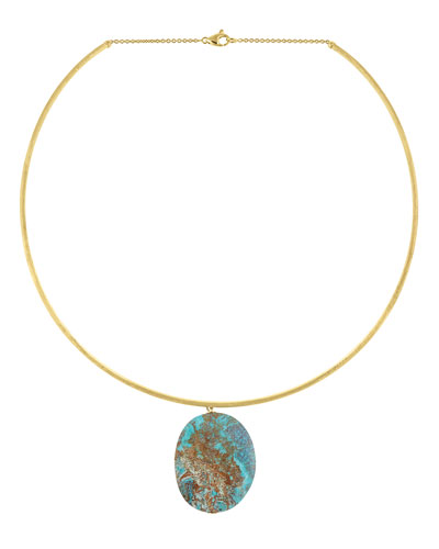 Materica 18K Gold Chrysocolla Pendant Collar Necklace