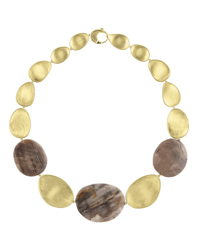 Materica 18K Yellow Gold & Wood Opalite Necklace