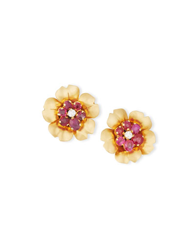 Ruby & Diamond Flowerhead Earrings