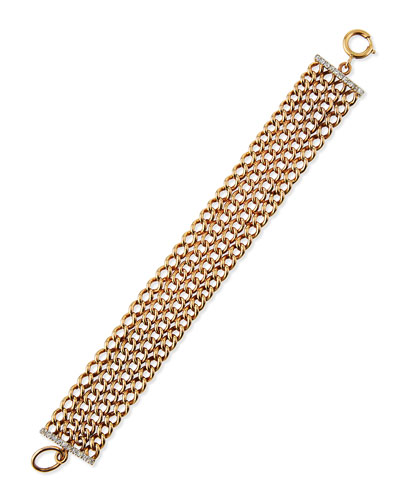 English Curb Link Bracelet with Diamond Bars