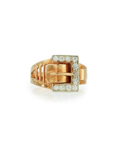 TURNER & TATLER 14K ROSE GOLD DIAMOND BUCKLE RING