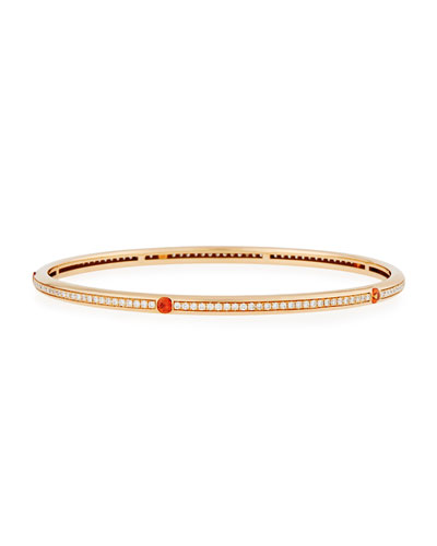 18K Rose Gold Pavé Diamond Bangle with Orange Sapphires