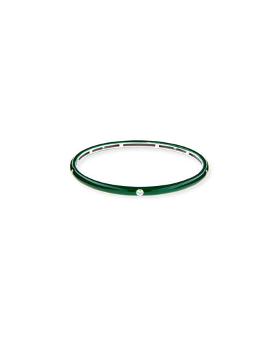 Green Enamel Bangle with Diamonds