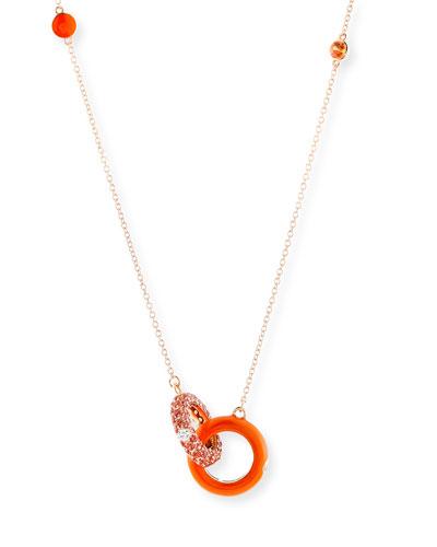 Orange Enamel & Sapphire Necklace with Diamonds