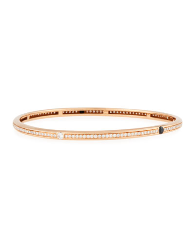 18K Rose Gold Bangle with Black & White Diamonds