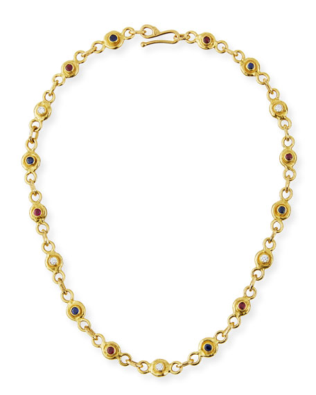 Jean Mahie 22K Gold Link Necklace with Diamonds, Sapphires & Rubies