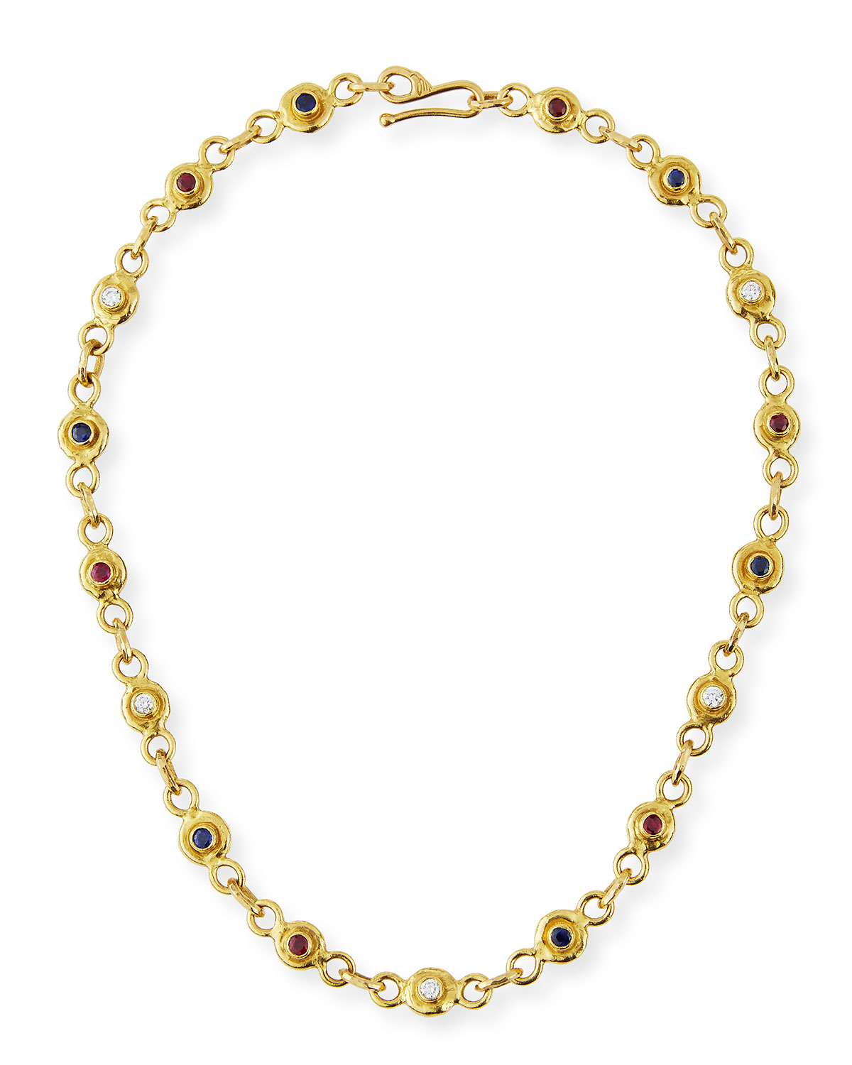 22K Gold Link Necklace with Diamonds