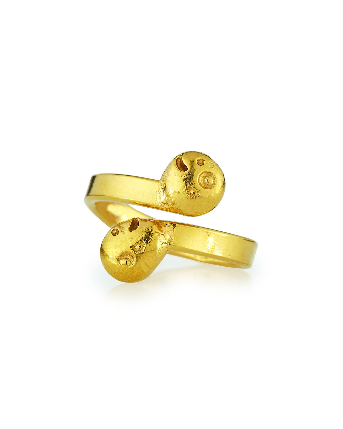 22K Gold Carved Bypass Ring