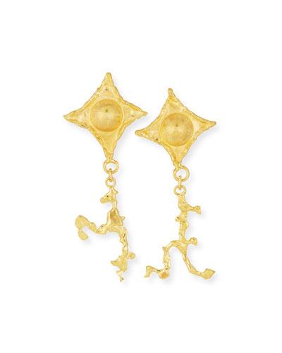 22K Gold Pointes & Dangling Figure Earrings