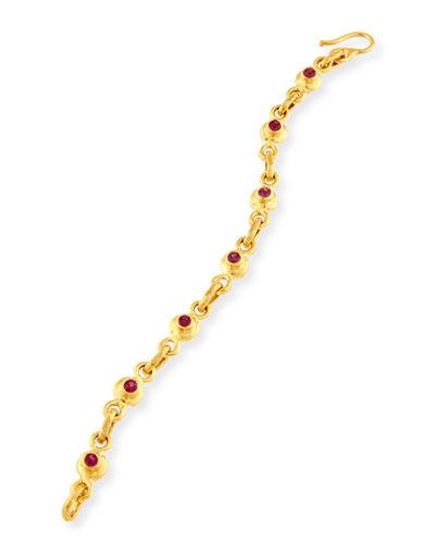 White Diamond & Pink Sapphire Link Bracelet