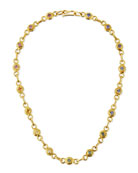 22K Gold Link Necklace with Multicolored Sapphires, 17""