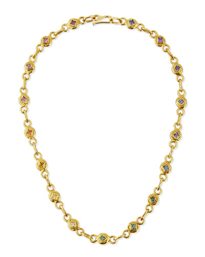 22K Gold Link Necklace with Multicolored Sapphires, 17