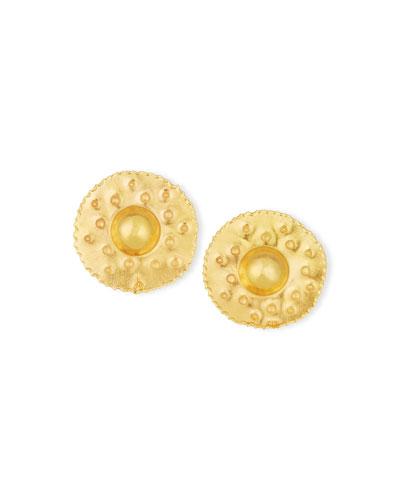 18K Yellow Gold Button Earrings