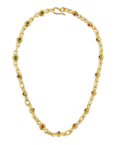 22K Gold Ruby & Emerald Station Necklace
