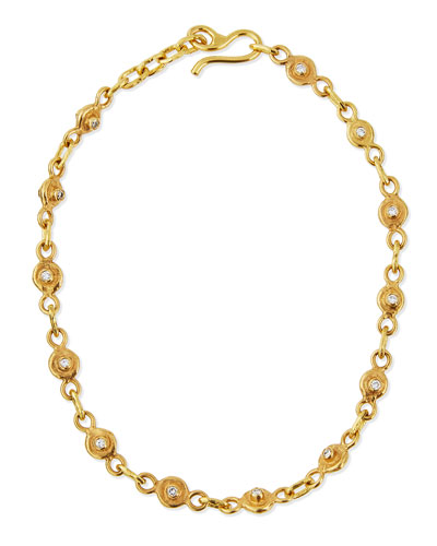 JEAN MAHIE 22K Gold Diamond Station Collar Necklace