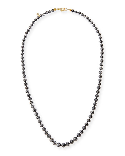 Faceted Black Diamond Bead Choker Necklace, 19