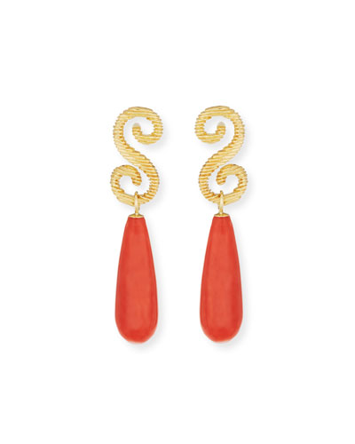Italian Coral Drop Earrings