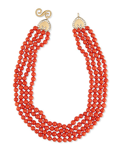 Four-Strand Italian Coral Bead Necklace
