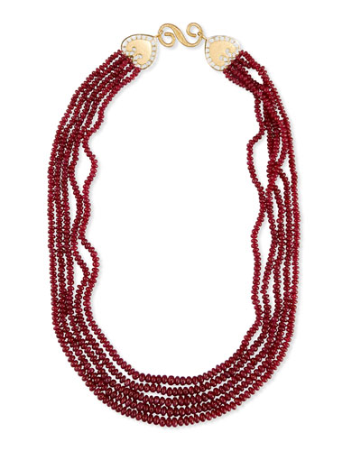 Five-Strand Smooth Ruby Necklace