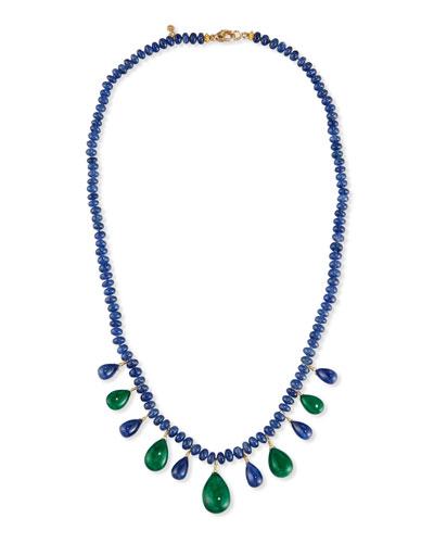 Blue Sapphire Rondelle & Emerald Briolette Necklace
