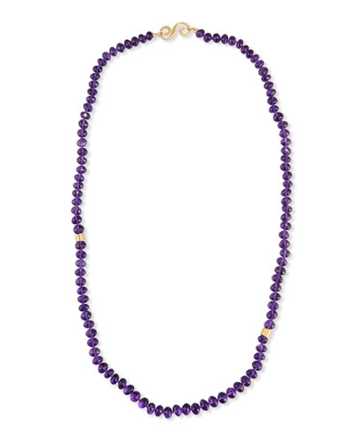 Single-Strand Faceted Amethyst Necklace, 30