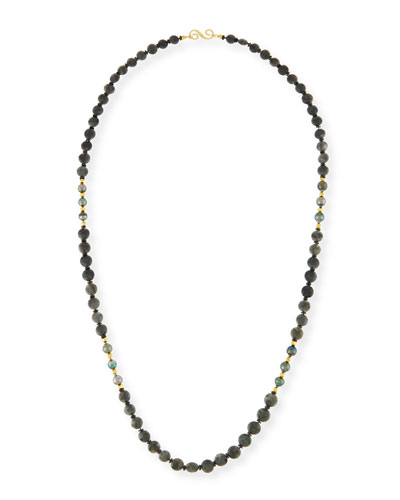 Long Agate, Spinel & Tahitian Pearl Rope Necklace, 38