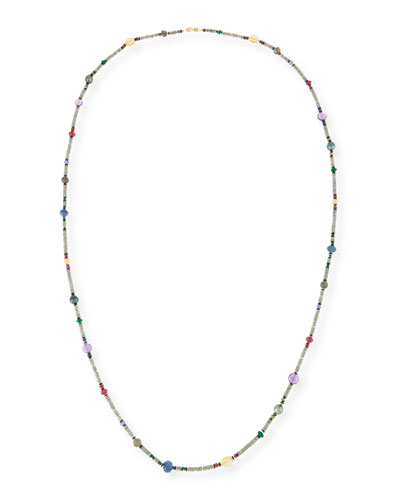 Long Bohemian Mixed-Gem Necklace, 55