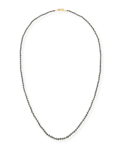 Faceted Round Black Diamond Necklace, 32